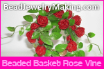 Beaded Basket Rose Vine